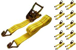 "New 1.5"" x 15' 4000 lb Ratchet Straps J Hook Heavy Duty Tie"