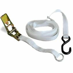 """13'x1.5"""" Polyester Ratchet Strap White Tie Down Anchor Tent"""