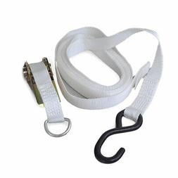 "13'x1"" Polyester Ratchet Strap White Tie Down Anchor Tent Ca"