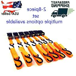 "2-8 PACK 1""X15' ORANGE RATCHET TIE-DOWN STRAPS FOR ATV MOTOR"