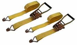 "New 2"" x 27' 5000 Lb Ratchet Straps J Hook Tie Downs Heavy"