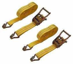"2 Pack 1-1/2"" inch x 27' Ft Ratchet Tie Down Cargo Straps 40"