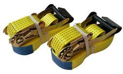 """2 Pack 2"""" x 27' Flat Hook 10,000 Lb Ratchet Straps Tie Downs"""