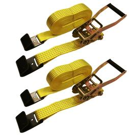 "2 Pc 2"" inch x 27' Flat Hook 10,000 Lb Ratchet Straps Flatbe"