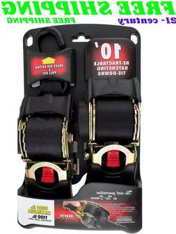 """Erickson 2"""" x 10' Retractable Ratchet Tie Down Straps 2 pack"""