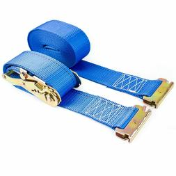 "2"" x 20 Ft Blue Heavy Duty Ratchet Strap Spring End Fitting,"