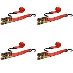 "2"" x 8' Red Ratchet Strap w/ Vinyl Coated S-Hooks - 4 Pack"