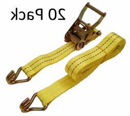 "New 1.5"" x 15' 4000 Lb Ratchet Straps J Hook Tie Downs Heav"