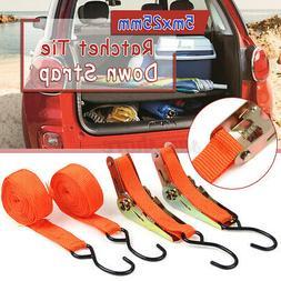 25mm*5m Retractable Ratchet Tie Down Strap Car Luggage Cargo