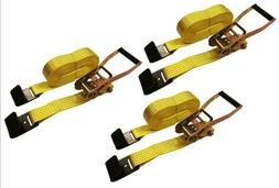 "3 Pc 2"" inch x 27' Flat Hook 10,000 Lb Ratchet Straps Heavy"