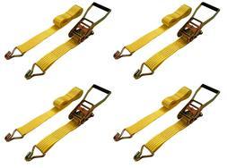 "New 2"" x 15' 5000 Lb Ratchet Straps J Hook Tie Downs Heavy"