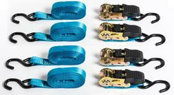 "4 pack 1""x15' Blue Ratchet Tie-Down Straps f Motorcycle Kaya"