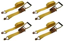"4 Pack 2"" inch x 27' Ft Ratchet Straps J Hook Tie Down Cargo"