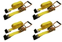 "4 Pc 2"" inch x 27' Flat Hook 10,000 Lb Ratchet Straps Heavy"