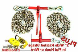 "3/8"" Transport Hauling  Ratchet Binders - 10' Foot Chains -"