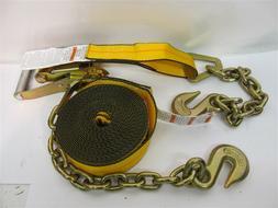 "Kinedyne 512739, 2"" x 27' Ratchet Strap w/ Chain Anchors, WL"