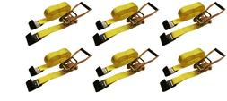 "6 Pc 2"" inch x 27' Flat Hook 10,000 Lb Ratchet Straps Heavy"