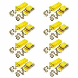 "8-Pack of 4"" x 40' Heavy-Duty Ratchet Strap with Chain Exten"