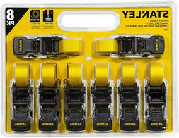 "8 PACK Stanley S1000 Black/Yellow 1"" x 10' Ratchet Tie Down"