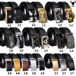 Black Leather Mens Belts Similar Automatic Buckles Ratchet W