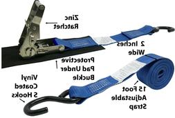 CTDUSA 2 Inch x 16 Foot Ratchet Strap With Vinyl Coated S Ho