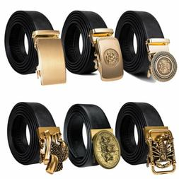 Fashion Mens Gold Automatic Buckles Black Belts Leather Ratc