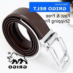 Genuine Leather Men's Automatic Click Ratchet Buckle Waist S