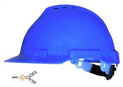 Hard Hat, Blue. Comfortable Head Liner. Vents. Swivel Ratche