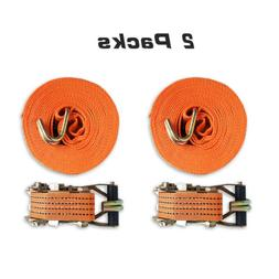 Heavy Duty Ratchet Straps with Double J-hooks 2 Packs