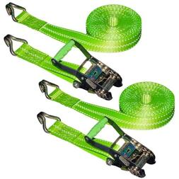 VULCAN Ratchet Strap with Wire Hooks 2 Inch x 30 Foot, 2 Pac