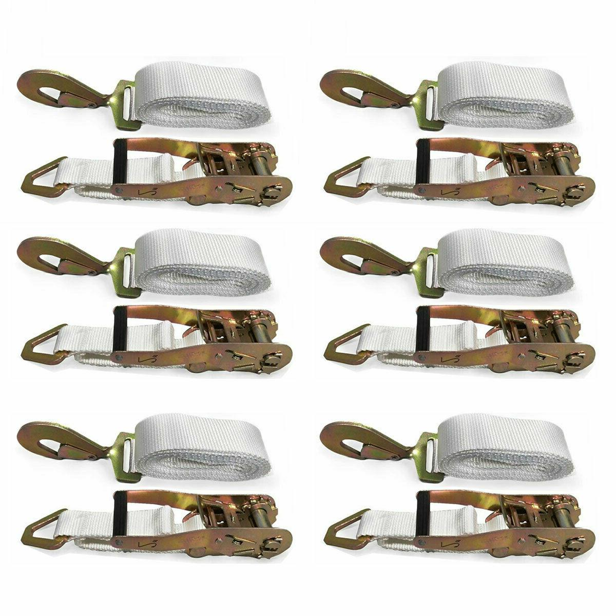 13 x2 ratchet tie down strap white