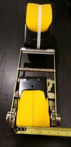 "KINEDYNE 4"" X 27' Ratchet Straps Tie Down Yellow Flat Hook H"