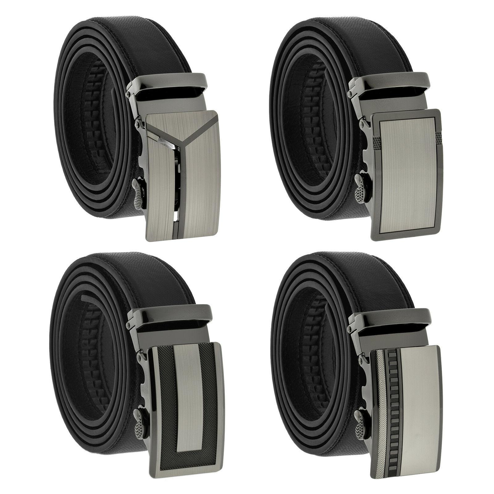 fashion genuine leather mens automatic ratchet buckle