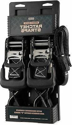 AUGO Heavy Duty Ratchet Straps & Soft Loops – Pack of 2 Ex