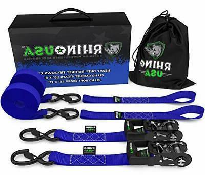 ratchet straps motorcycle tie down kit blue