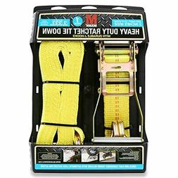 "Mann Ratchet Tie Down Straps J Hook 1 Pack 27'X 2"" (Extra He"