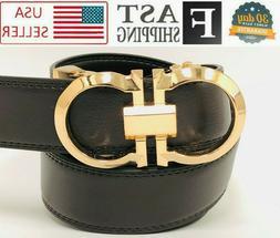Men's Dress Jeans Belt Metal Gold Auto Lock Buckle Ratchet B