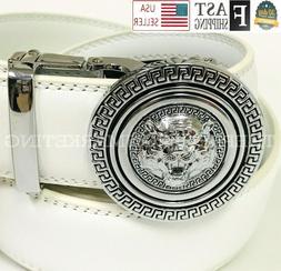 Men White Designer Leather Belt Sliding Ratchet Automatic Si