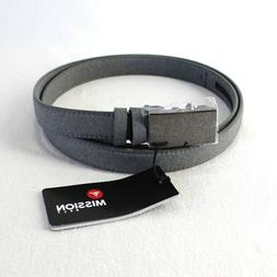Mission Belt Mens XL Gray Leather Strap with Coating Adjusta