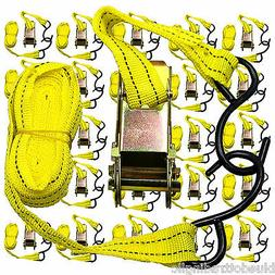 """NEW Ratchet Tie Down Cargo Straps 1"""" inch x 13' Ft with S Ho"""