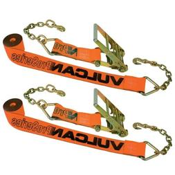 VULCAN Ratchet Strap with Chain Anchors - 4 Inch x 30 Foot,
