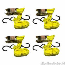 """Qty 4 US SELLER ~ Ratchet Tie Down Cargo Strap 1"""" inch x 13'"""