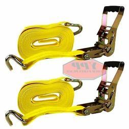 "Ratchet Nylon Tie Down Strap 27 Ft X 2"" Hd 2 Pack 10000 Lbs"