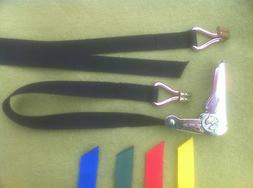 RATCHET STRAP 25mm WEBBING WITH HOOKS  - various colours & l