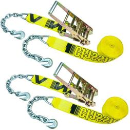 VULCAN Ratchet Strap with Chain Anchors - 3 Inch x 30 Foot,