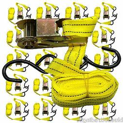 """Ratchet Tie Down Cargo Straps 1"""" inch x 13' Ft with S Hooks"""
