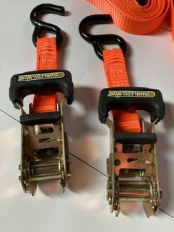 Ratchet Tie Down Smart Straps 2pc Anchor Retractable Heavy D