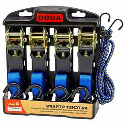 Ratchet Tie Down Strap Cargo Straps with 2 Bungee Cord 4 Pac