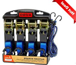 Ratchet Tie Down Straps/Cargo Straps, 4 Pack & 2 Bungee Cord