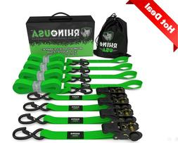 """Ratchet Tie Down Straps with Padded Handles, 1"""" x 15', 4 Pac"""